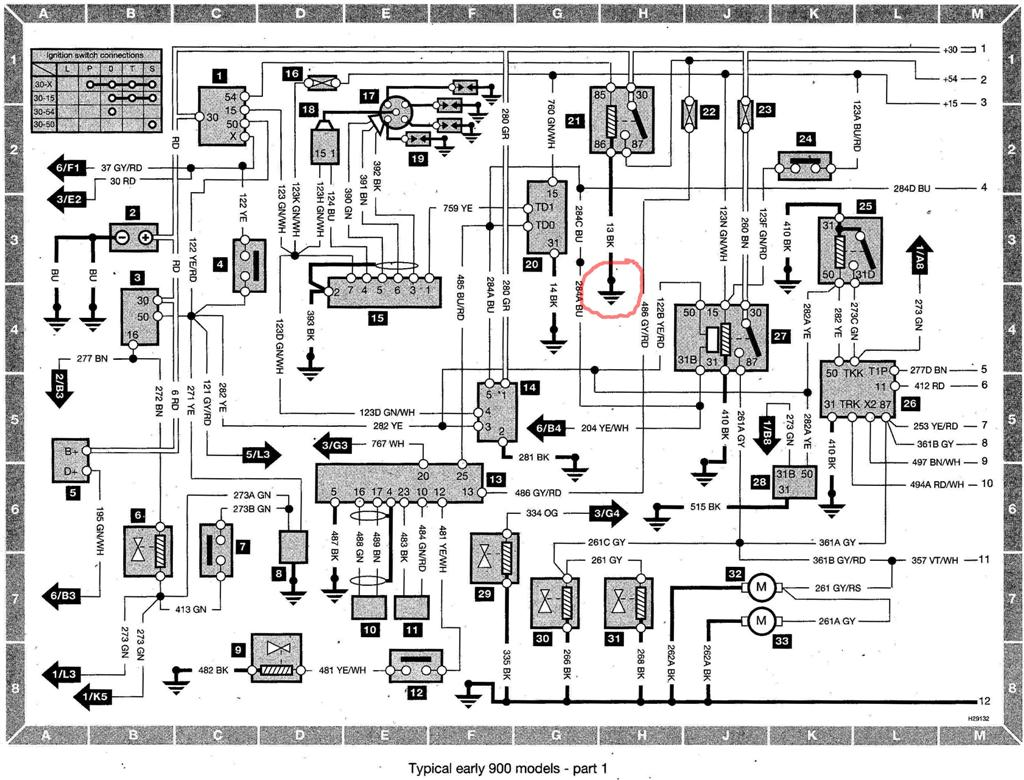 Saab 900 Wiring diagram (early models) part 1 (mod) index of saab saab 900 wiring diagram (early models) saab 9-5 wiring harness at readyjetset.co