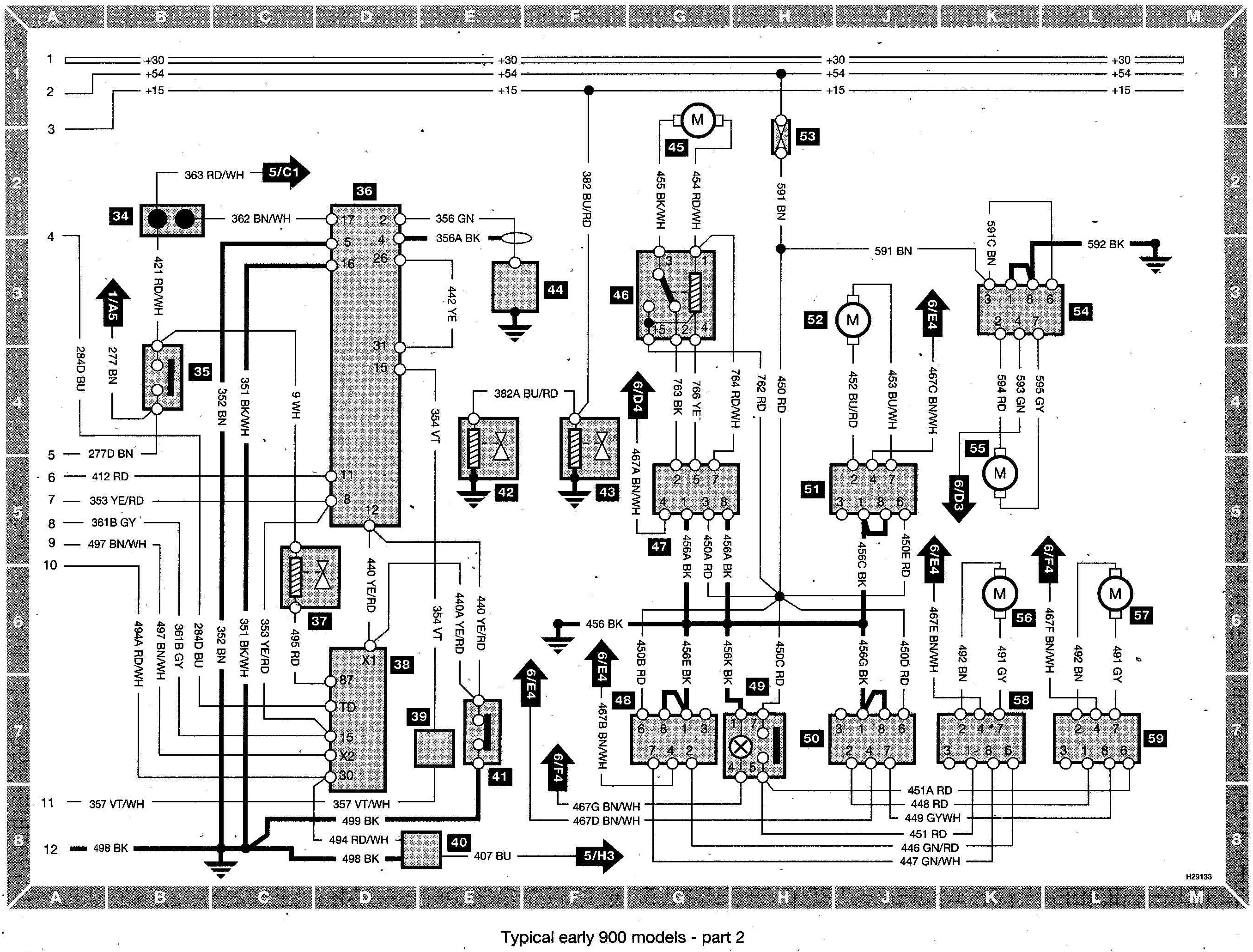 Saab 900 Wiring diagram (early models) part 2 saab 95 seat wiring diagram saab wiring diagrams instruction 2002 saab 93 radio wiring diagram at bayanpartner.co